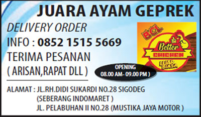 Ayam Geprek Sukabumi - Juara Ayam Geprek, Terima Orderan