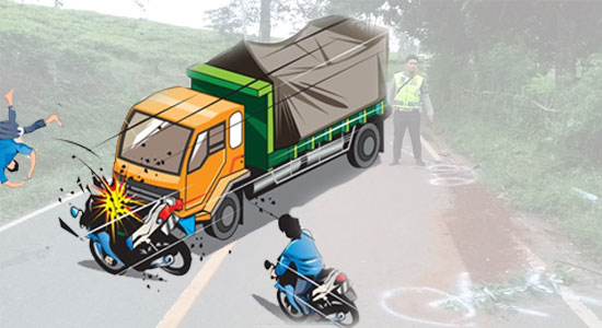 Motor tabrak truk - Tak Pake Helm, Pelajar SMP Hantam Truk, Kepala Korban Pecah