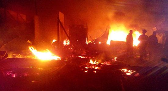 Kebakaran Pasar Penampungan Tipar - Ledakan Awali Kebakaran di Pasar Penampungan Tipar Sukabumi