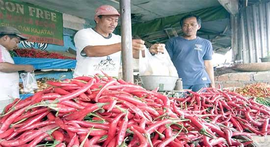 pedagang cabai di pasar tradisional Kota Sukabumi